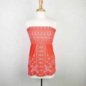 Almost Famous Pink Summer Strapless Paisley Dress